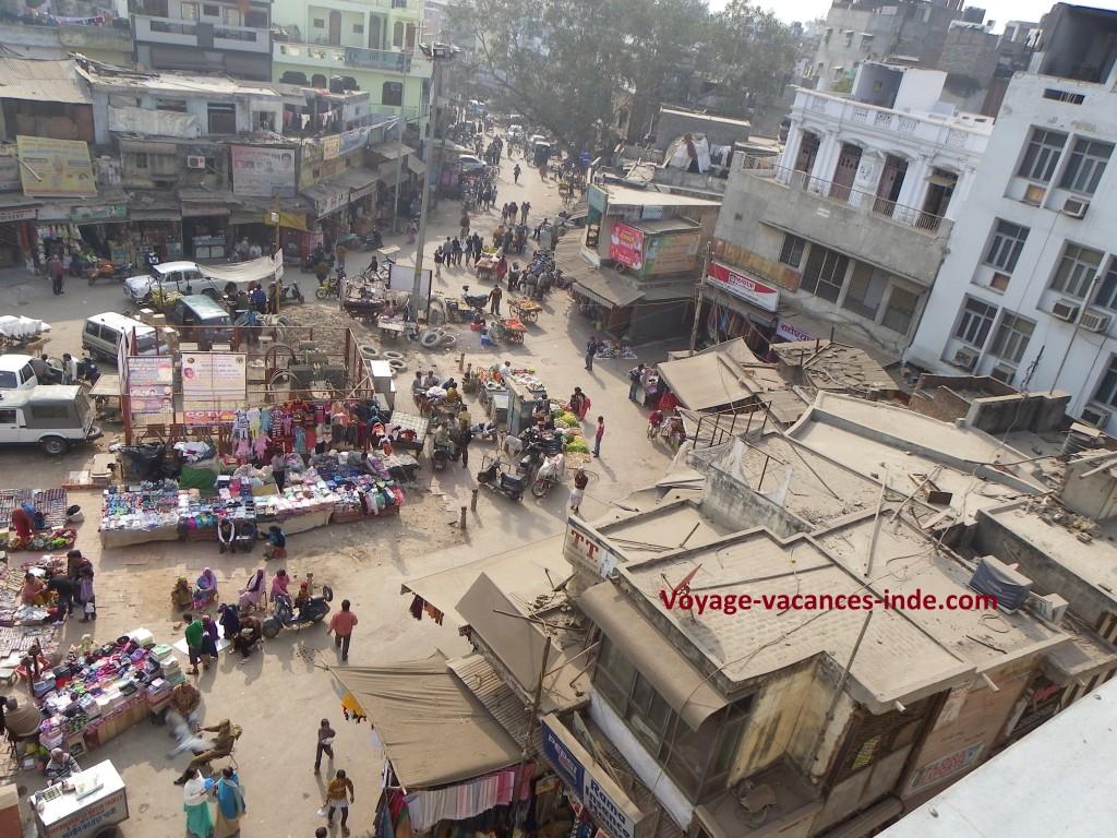Vue sur Pahar Ganj à New Delhi.